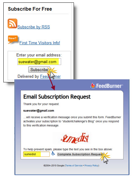 Subscribing by email