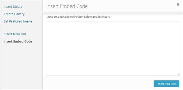 Click on Insert Embed code