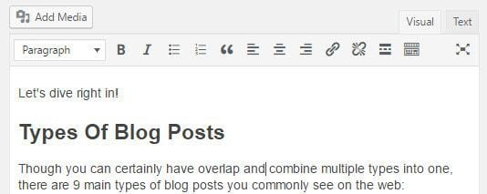 Headings in a post