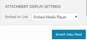 Select Embed Media player