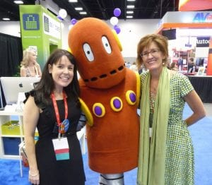 Kathleen and Mrs Yollis with Moby at ISTE