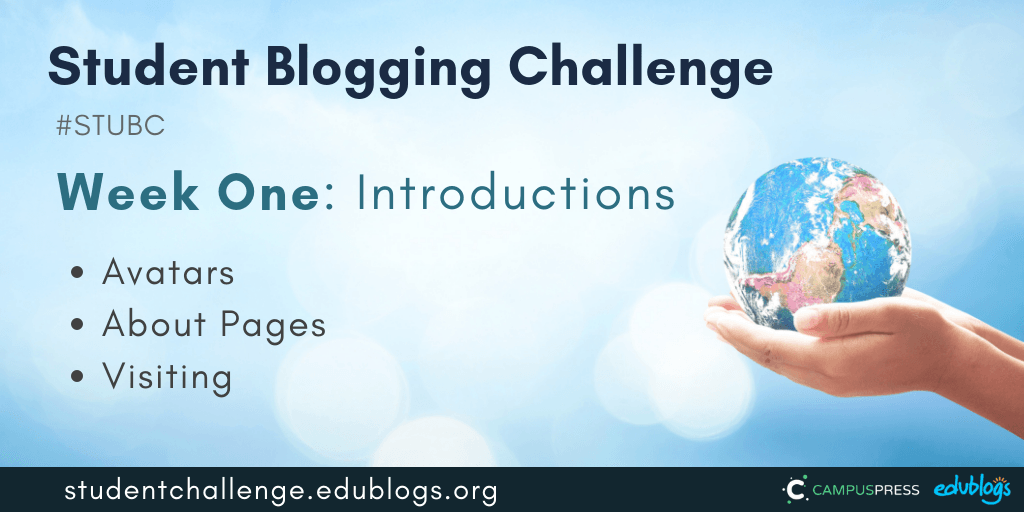 Week one of the Student Blogging Challenge is all about avatars, About pages, and visiting other blogs.
