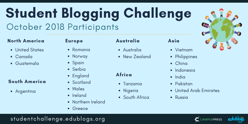 Student Blogging Challenge Participants Oct 2018 - 6 continents and 27 countries