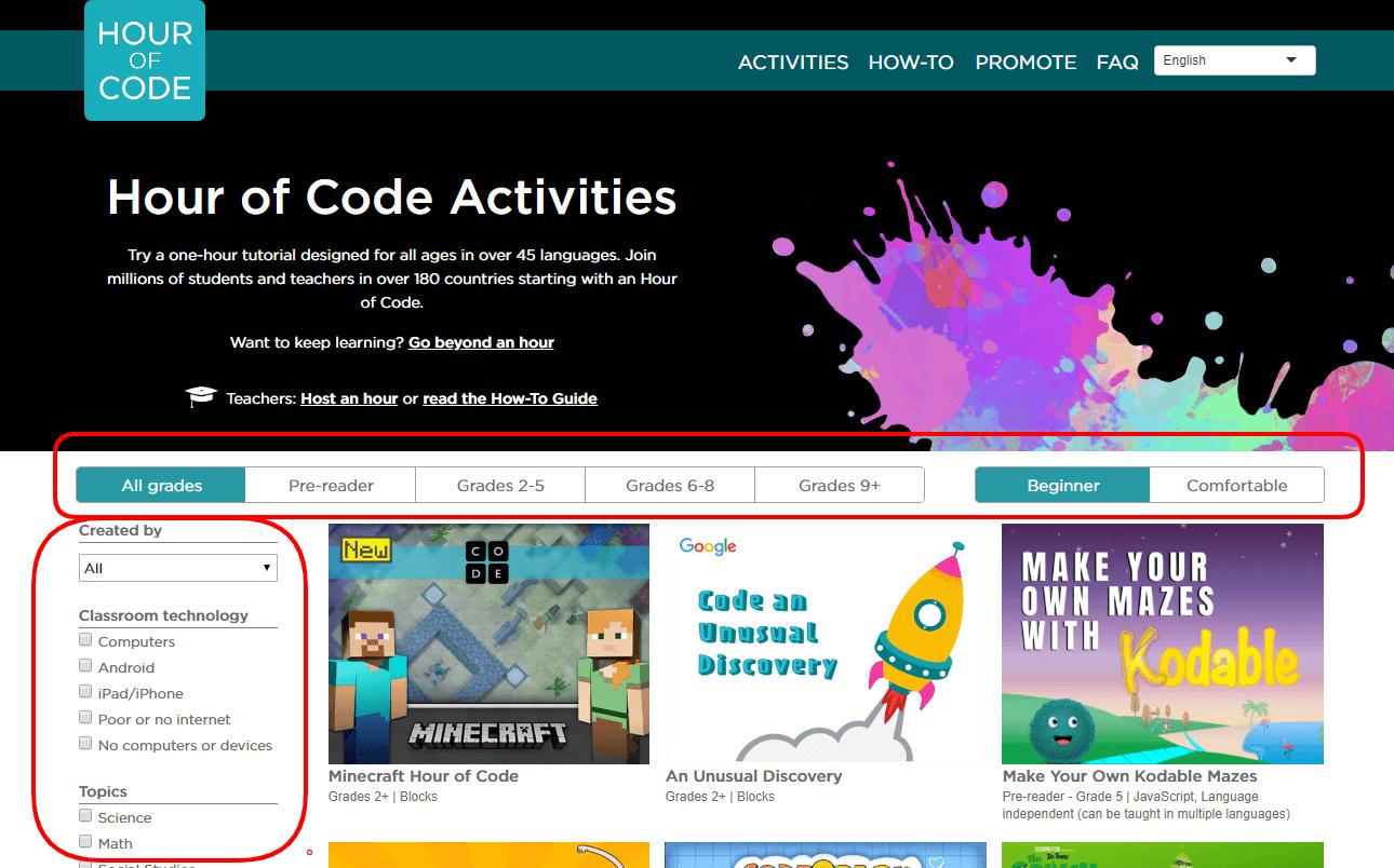 Screenshot Hour of Code website