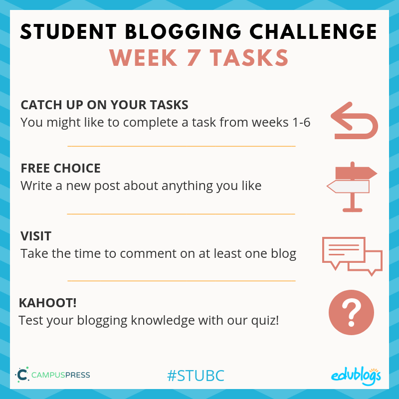 Week seven of the Student Blogging Challenge allows you to catch up or write a free choice post.