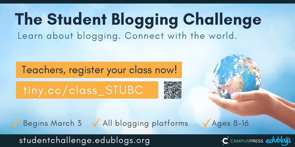 Teachers, use this form to register your class to participate in the next Student Blogging Challenge! Edublogs free blogging challenge