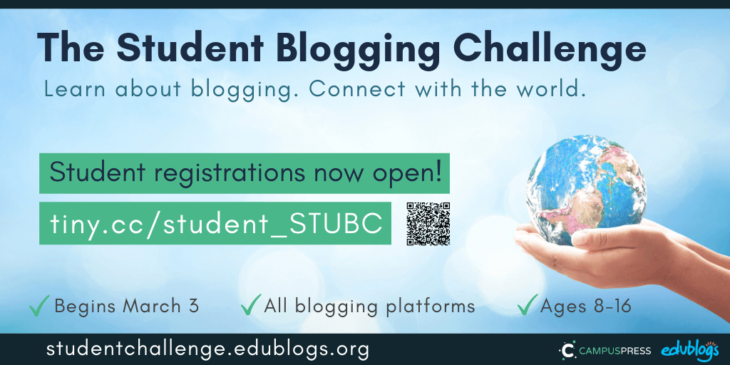 Students, use this form to register to participate in the next Student Blogging Challenge! Edublogs free blogging challenge