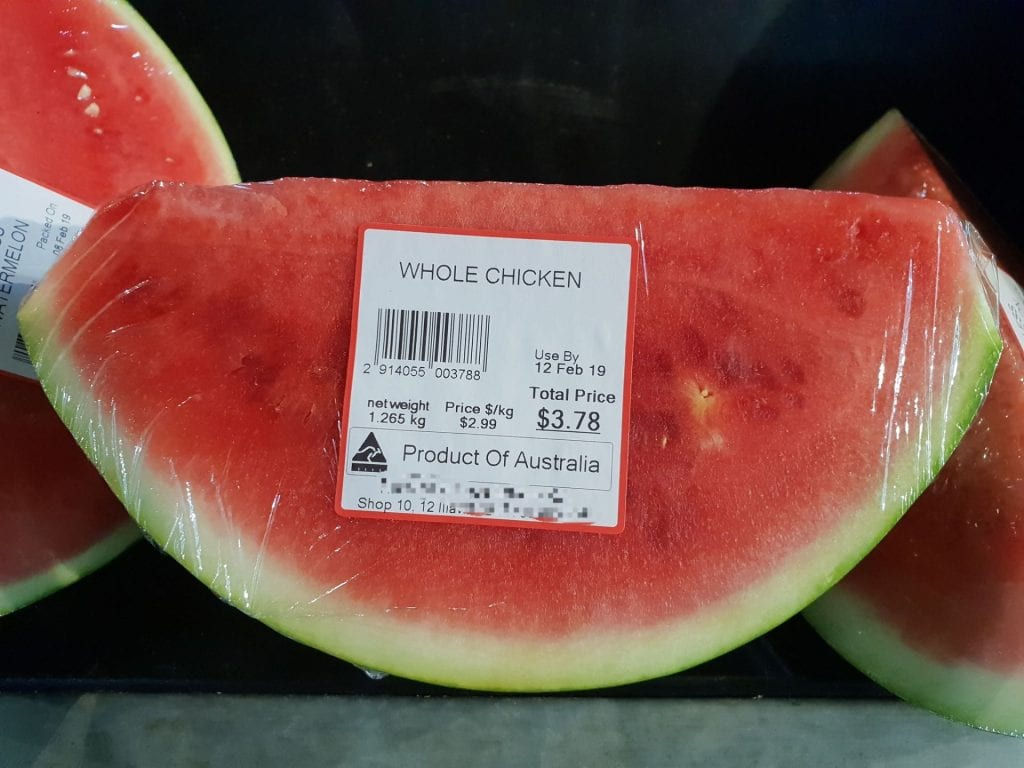 Photo of watermelon with a label that says chicken