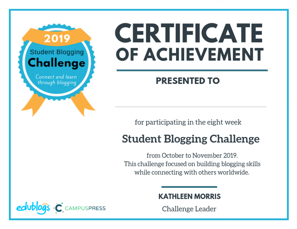 Student Blogging Challenge certificate for participating students