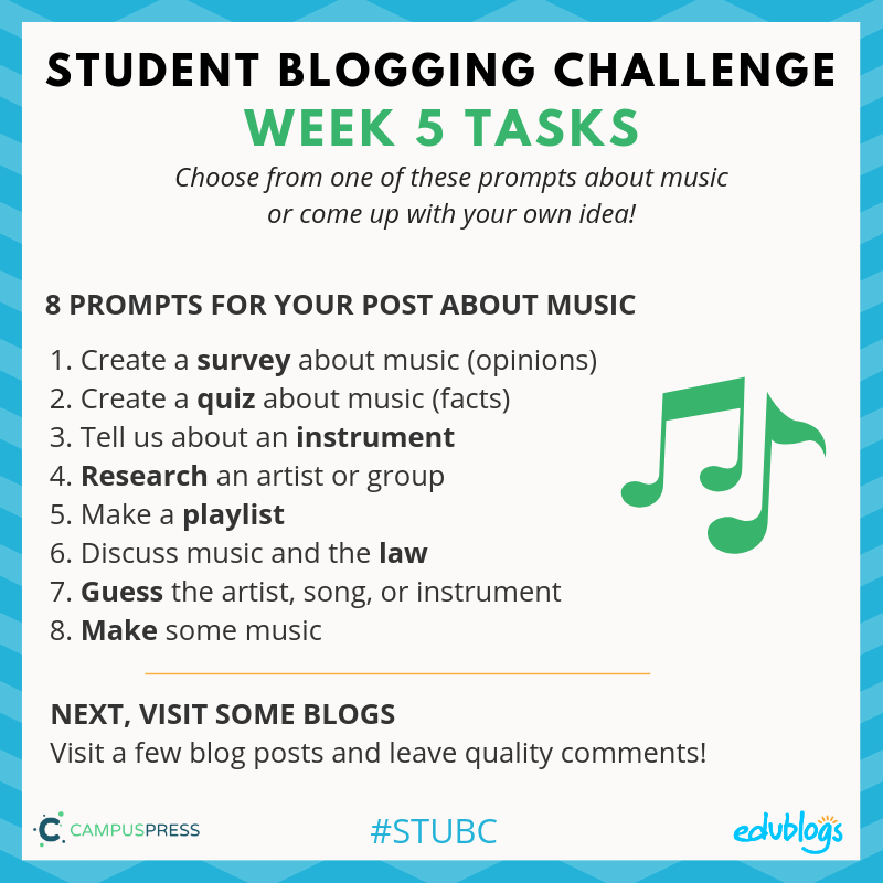 Week 5 of the STUBC is about music. There are 8 tasks to choose from