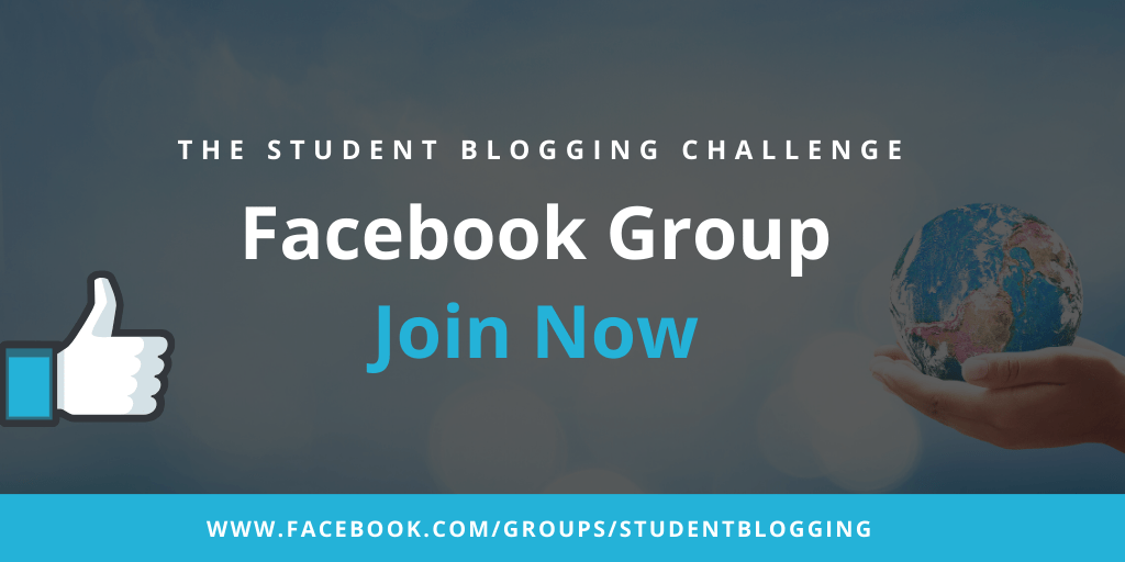 Graphic: The Student Blogging Challenge Facebook Group is open