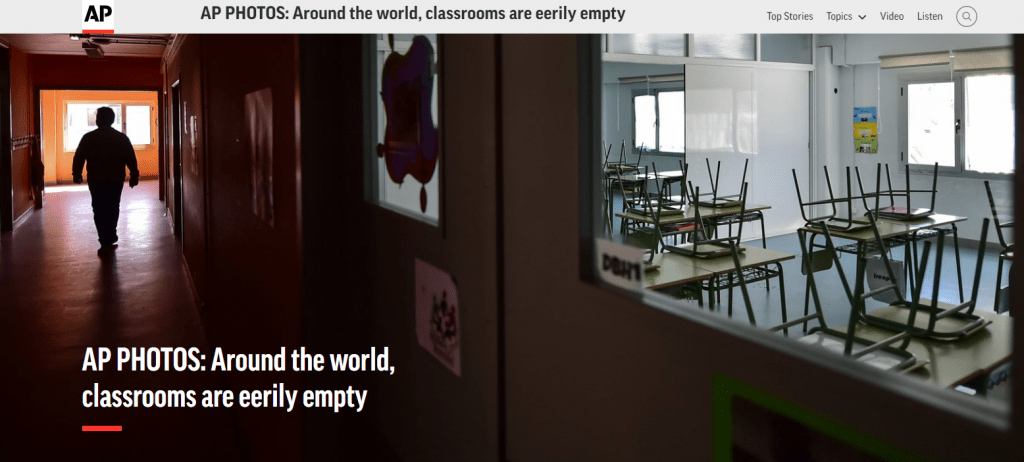 Photo of empty classrooms