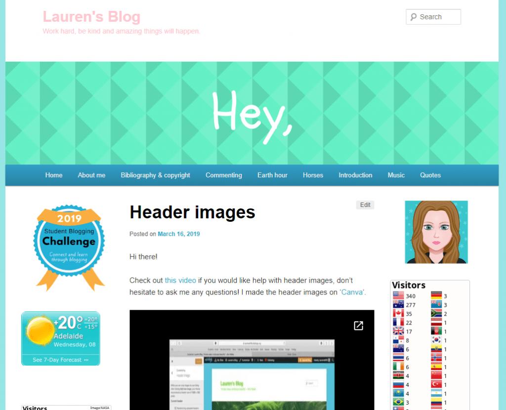 Screenshot of Lauren's blog