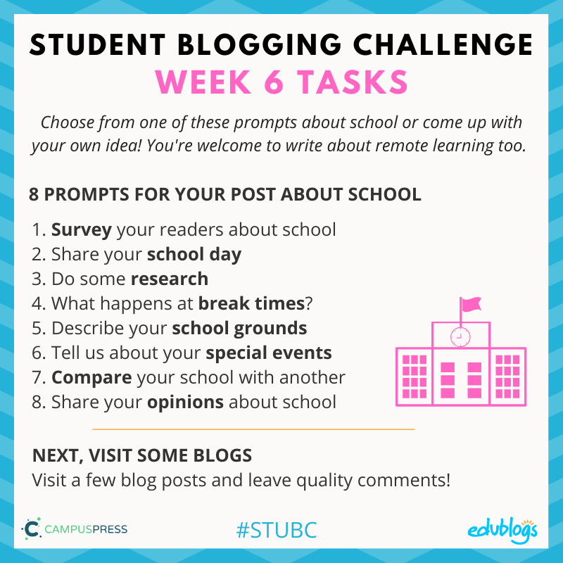 Week 6 of the Student Blogging Challenge looks at school around the world.
