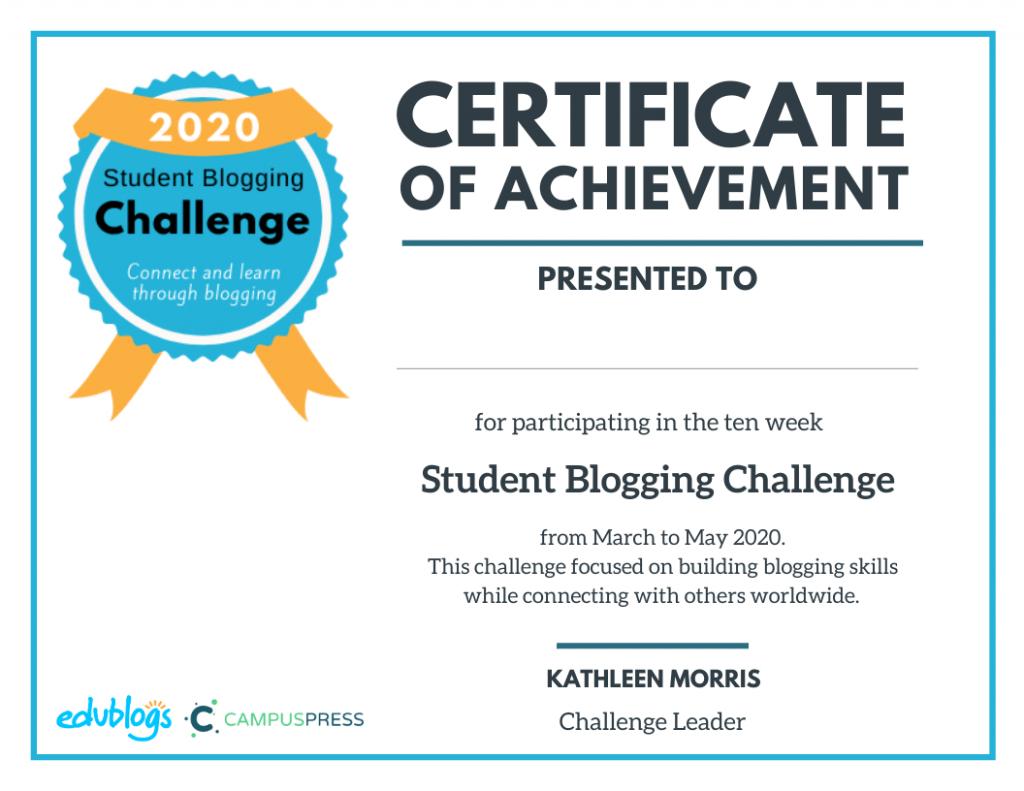 Student Blogging Challenge Certificate Participants 2020